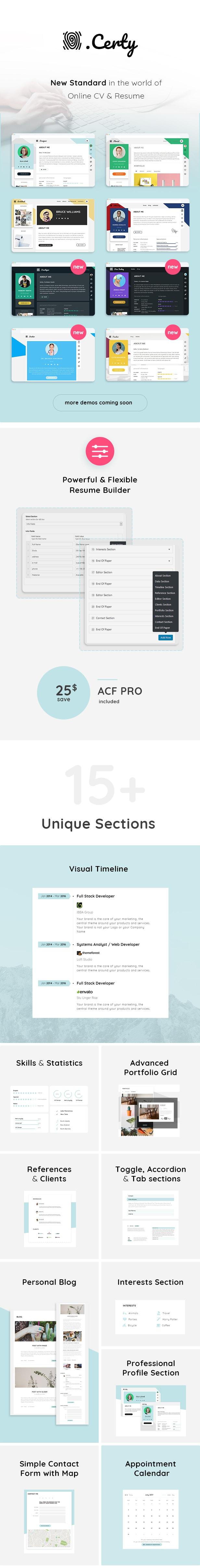Certy - Resume, CV WordPress Theme